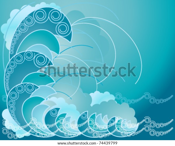 Vector Background Illustration Abstract Ocean Waves Stock