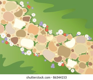 vector background illustration of a colorful cobbled garden path with flowers and lawn grasses in eps 10 format