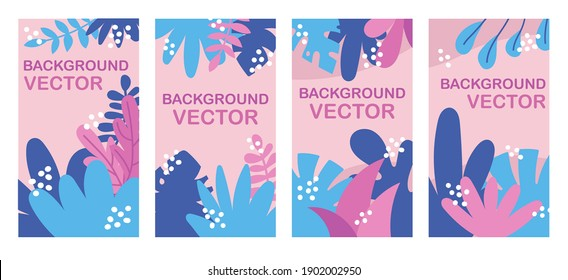 Vector background illustration with copy space for text with leaves and plants. Vertical templates for greeting cards, advertizing banners.