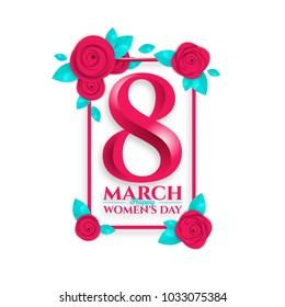 vector background illustration. holiday International Women's Day on March 8. design frames in the style of paper and origami, paper colorful flowers and a figure of eight