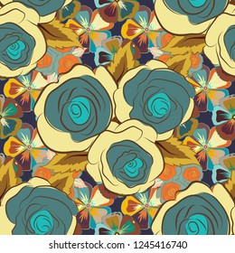 Vector background illustration. Nature rose flowers. Abstract seamless pattern in yellow, blue and brown colors.