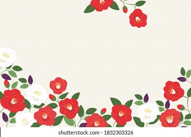 Vector background illustration with red and white camellia flowers