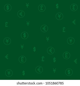 vector background illustration of symbols of most popular world currency dollar, euro, pound and yen in green tones