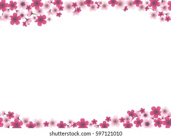 A vector background image with cherry blossoms in full bloom. You can connect this image laterally and create a seamless pattern.
