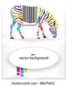 Vector background with the image of a multi-colored zebra and a bar code