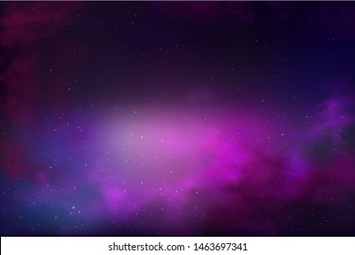 vector background of an infinite space with stars, galaxies, nebulae. bright oil stains and blots with white dots