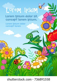 Vector background with insects, flower and place for text. Card in cartoon, children's style.