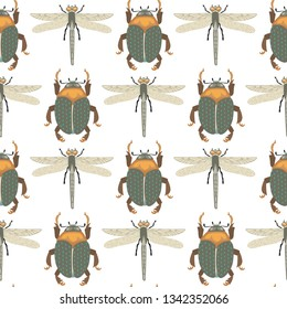 Vector background with insects illustrations. Beetle bug, dragonfly.