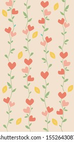 A vector background for instagram stories in 9:16 format for valentines day or wedding. Pastel doodle hearts, flowers and leaves for social networks instagram and facebook