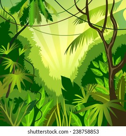 vector background with jungle