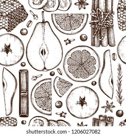 Vector background kitchen herbs, spices, dried fruits and berries. Hand sketched mulled wine ingredients. Taste of Christmas illustration. Bar menu design. Seamless pattern.