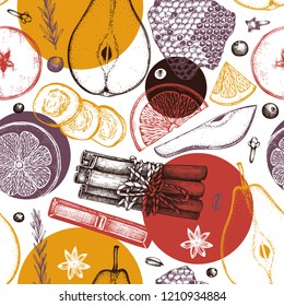 Vector background kitchen herbs, spices, dried fruits and berries. Hand sketched mulled wine ingredients. Christmas menu design illustration. Seamless pattern.