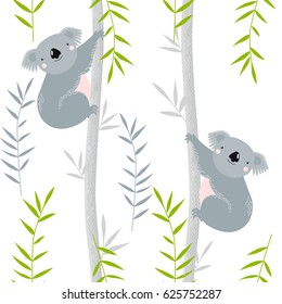 Vector background with koalas on trees. Cartoon koalas. A cartoon character.