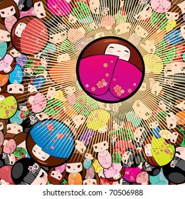 Vector background with kokeshi dolls