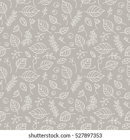 Vector background with leaves, line art, herbs and berries, seamless pattern for fabric or wrap paper