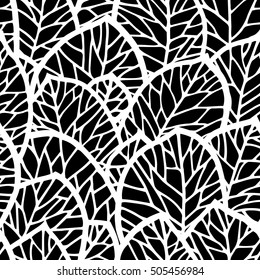Vector background with leaves, seamless pattern for textile or wrap paper