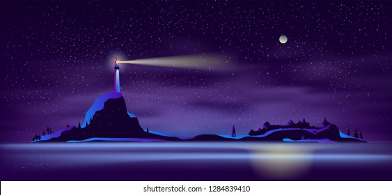 Vector background with lighthouse at night - building on mountain with searchlight, illuminated shore, landscape. Tower for navigation in ultraviolet colors, full moon backdrop. Mist, haze on beach.