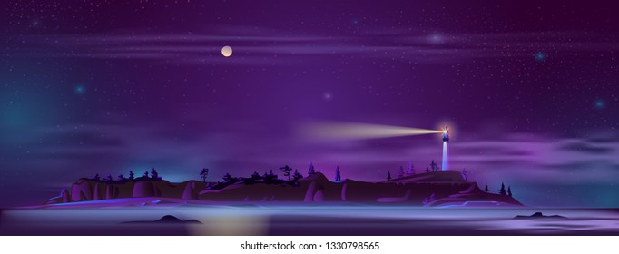 Vector background with lighthouse at night - building on the hill with searchlight, illuminated shore, landscape. Tower for navigation in ultraviolet colors, full moon backdrop. Mist, haze on beach.