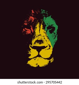 Vector background with lion head. Rasta background.Vector illustration.