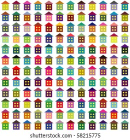 Vector background made of multicolor simple houses