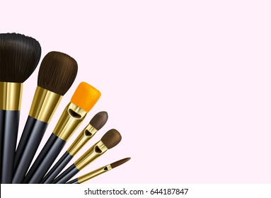 Vector background make up or art brushes with clipping mask