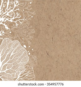 Vector background with marine plants on kraft paper. Can be greeting card, invitation, design element.