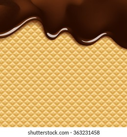 vector background with melting chocolate on wafer