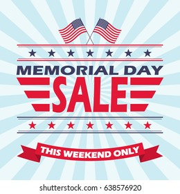 Vector background for Memorial Day Sale.