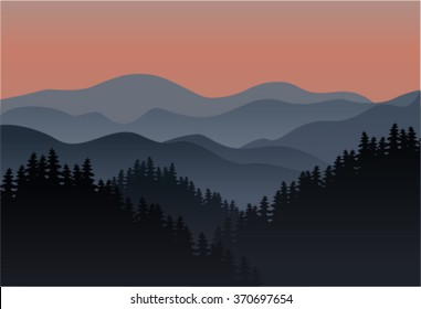 Vector Background morning mountains landscape