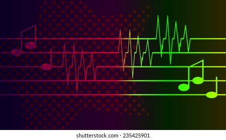 Vector background with a musical theme on black background.