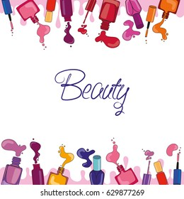 Vector background with nail polish. Fashion background. Perfect for scrap-booking