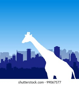 Vector background with Nairobi silhouette skyline and giraffe