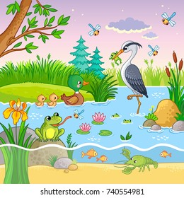 Vector background with nature and animals in the children's cartoon style. Lovely crawfish and fish on water.