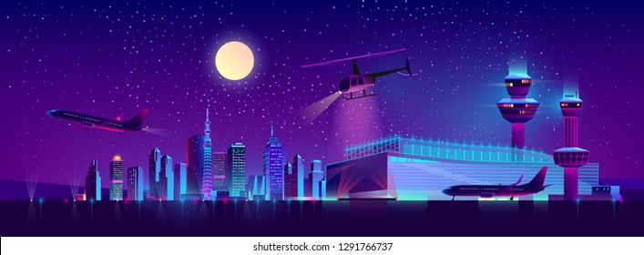 Vector background of night airport with takeoff of the plane and landing of a helicopter. Terminal, control room in bright neon lights, modern illumination. Night sky, landscape with hangar, building.