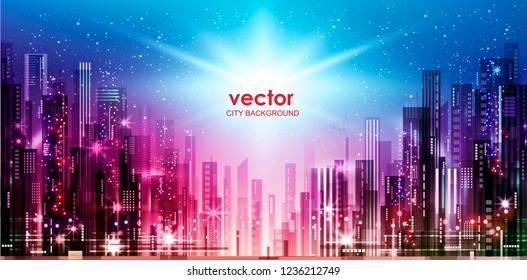 東京 夜景 ビル群のイラスト素材画像ベクター画像 Shutterstock