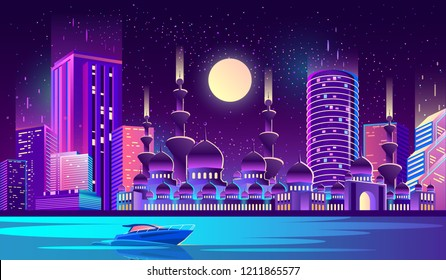Vector background with night city illuminated with neon glowing lights. Muslim culture, Arabic or Turkish urban concept. Cityscape with big mosque and minarets, modern buildings, high skyscrapers