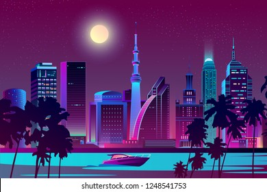 Vector background with night city in neon, ultraviolet colors. Bright river with boat on full moon background. Skyscrapers with palms, urban concept. Modern megapolis backdrop.