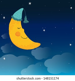 Vector background with night sky and sleeping smiling moon in the nightcap.