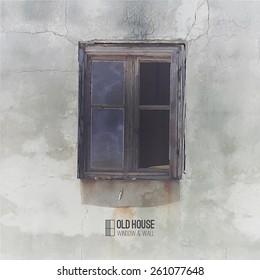 vector background of old house, grunge window and wall