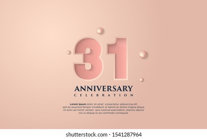 Vector background on a 31 year celebration. by using a very soft pink coloring. vectors can be edited easily according to their needs and desires.