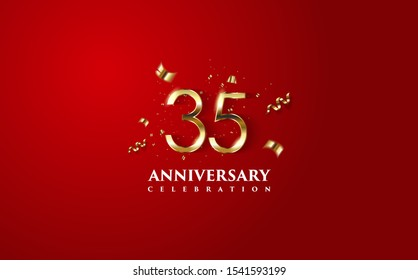 Vector background on a 35-year celebration. by using two colors in the design between gold and red. vectors can be edited easily according to their needs and desires.