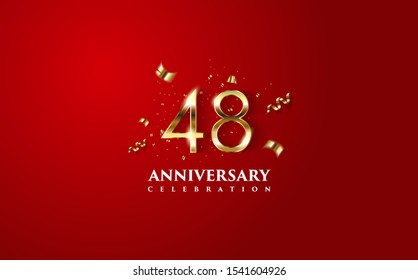 Vector background on a 48-year celebration. by using two colors in the design between gold and red. vectors can be edited easily according to their needs and desires.