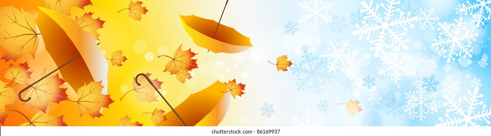Vector background on a theme of autumn and winter