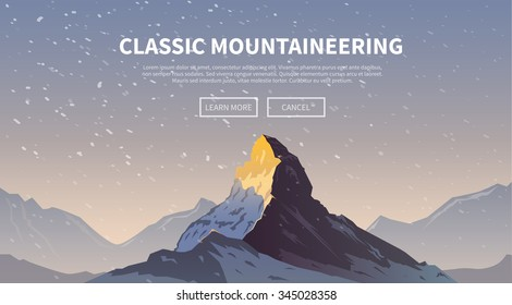 Vector background on the theme of Climbing, Trekking, Hiking, Mountaineering. Extreme sports, outdoor recreation, adventure in the mountains, vacation. Achievement. The Alps. The Matterhorn. #1