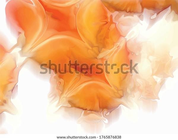 arrière-plan vectoriel, gouttes d'orange avec fond blanc