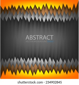 Vector background orange yellow brown and grey serrated sawtooth on black dark space paper layer for text and message modern artwork website design