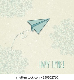 Vector background with a paper airplane and original clouds. Perfect for invitations, card, announcement or greetings.