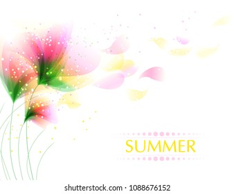 Vector background with pastel flowers. Yellow flowers in the wind. EPS 10. Contains transparent objects.