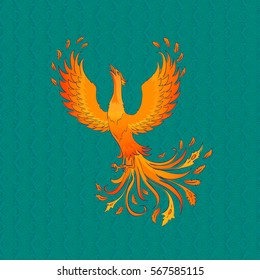 Vector background with phoenix -symbol of immortality and renewal.