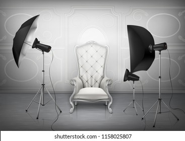 Vector background, photo studio with empty luxury armchair and wall with decorative ornament, light diffusers and softboxes on tripods. Room mockup with lighting equipment for professional photography